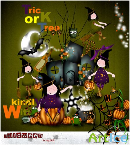 Scrap set - Halloween Pumpkins and Witches PNG and JPG FIles