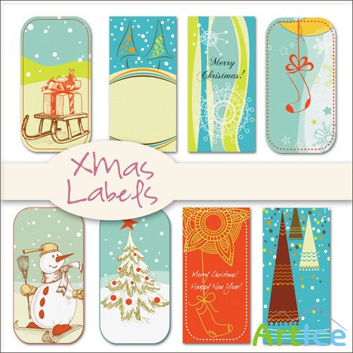 Xmas Labels PNG Files