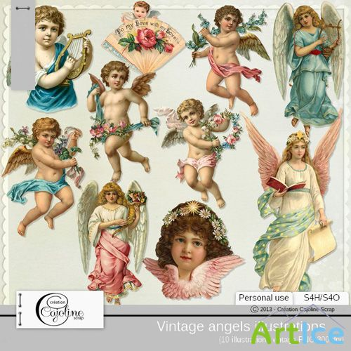 VIntage Angels Illustrations PNG Files