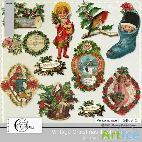 VIntage Christmas Illustrations 10 PNG Files
