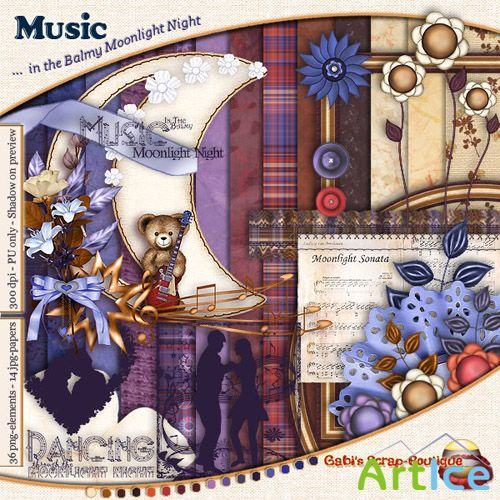Scrap Set - Music in the Balmy Moonlight Night PNG and JPG Files