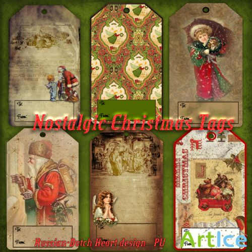 Nostalgic Christmas Tags PNG Files