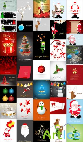 Christmas Backgrounds and Santa Vector Set