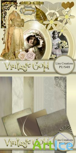 Scrap Kit - Vintage Gold PNG and JPG Files