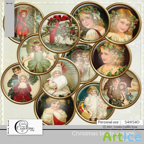 Christmas Brads Vintage PNG Files