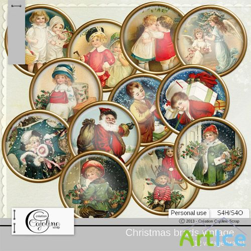 Christmas Brads Vintage 2 PNG Files