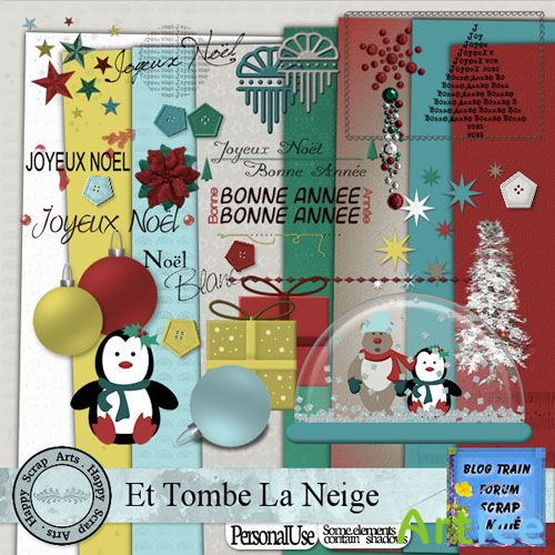 Scrap Set - Et Tombe La Neige PNG and JPG Files