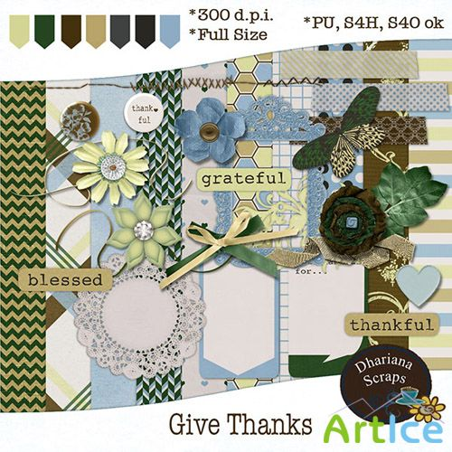 Scrap Set - Give Thanks PNG and JPG Files