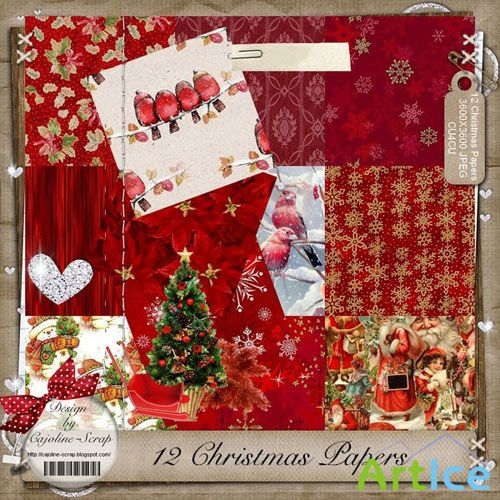 Christmas Papers 3 JPG Files