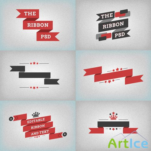 Flat Ribbons PSD Set