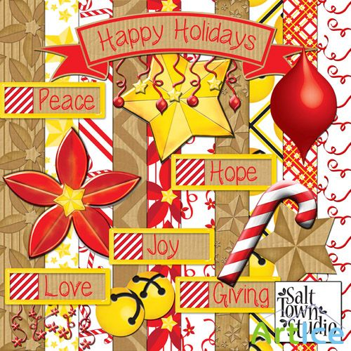 Heppy Holidays Scrap Kit PNG and JPG Files