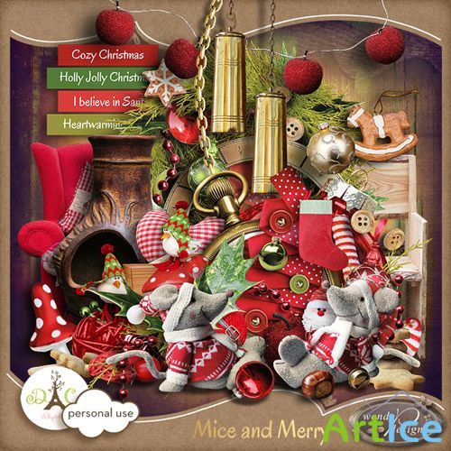 Scrap Set - Mice and Merry PNG and JPG Files