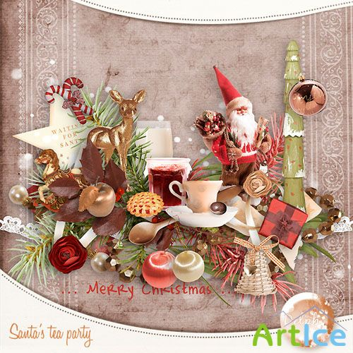 Scrap Set - Santas Tea Party PNG and JPG Files