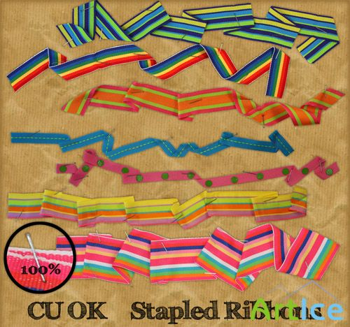 Stapled Ribbons PNG Files