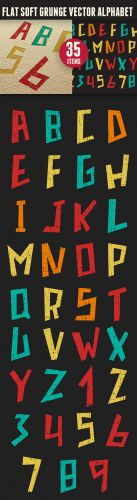 Flat Soft Grunge Vector Alphabet Illustration