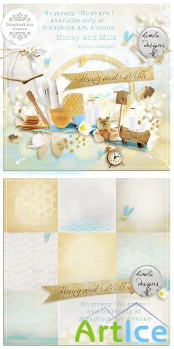 Scrap Set - Honey and Milk PNG and JPG Files