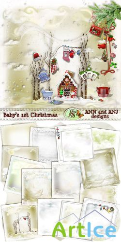 Scrap Set - Babys 1st Christmas PNG and JPG Files