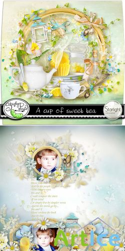 Scrap Set - A Cup of Sweet Tea PNG and JPG Files