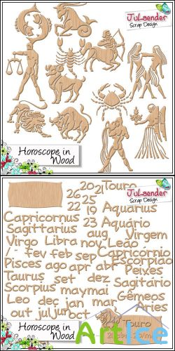 Horoscope in Wood PNG Files