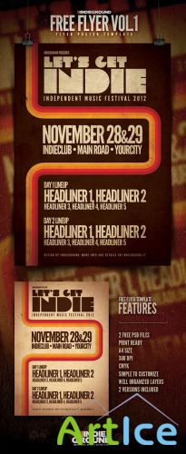 Indieground Party Flyer/Poster PSD Template #1