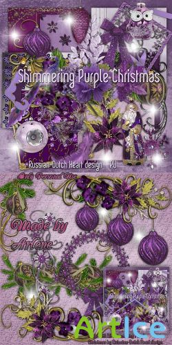 Scrap - Shimmering Purple Christmas PNG and JPG Files