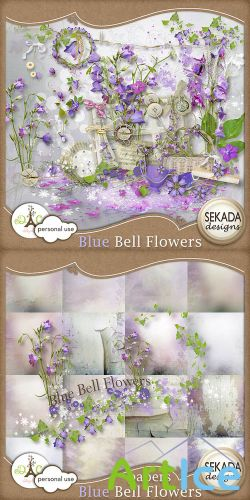 Scrap - Blue Bell Fflowers PNG and JPG Files