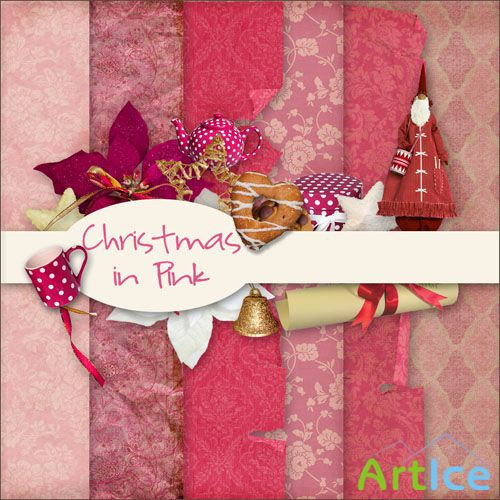 Scrap - Christmas in Pink Kit PNG and JPG Files