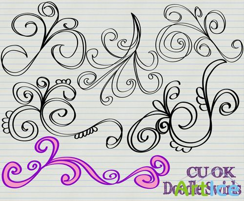 Doodle Swirls PNG Files