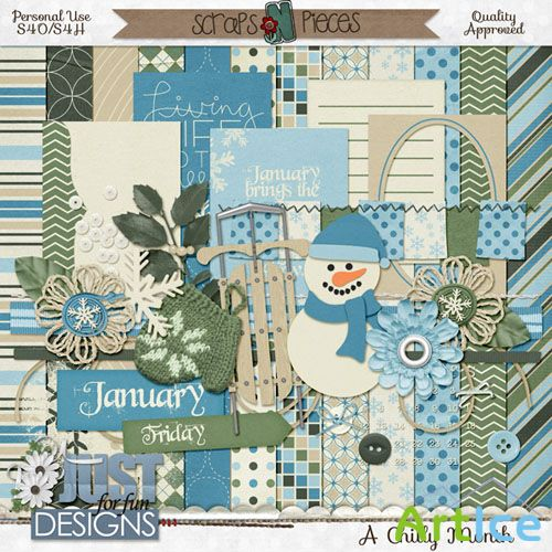 Scrap Set - A Chilly Month PNG and JPG Files