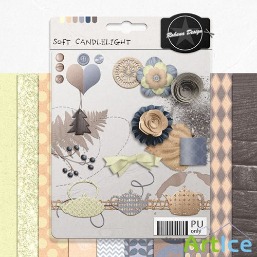 Scrap Set - Soft Candlelight PNG and JPG Files