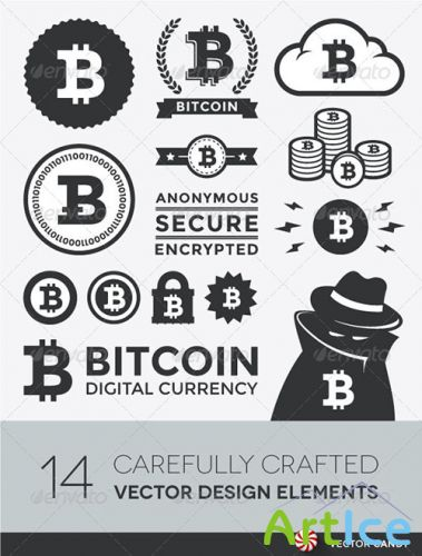 GraphicRiver - Vector Bitcoin Design Elements and Labels 4559522