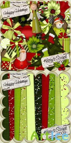 Happy Holidays Scrap Kit PNG and JPG Files