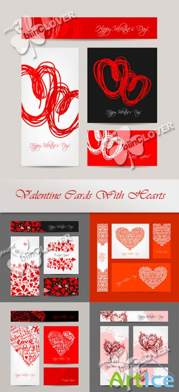 Valentine cards with hearts 0564