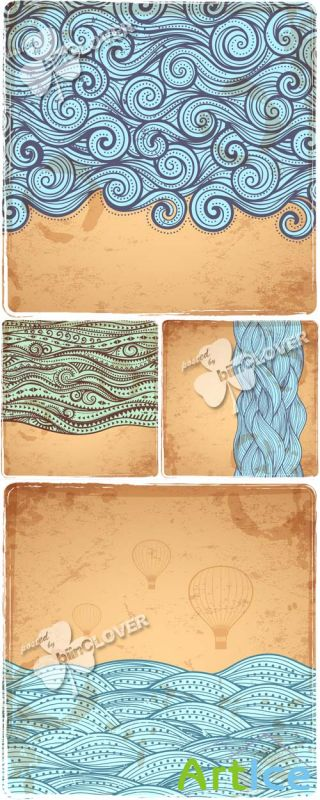 Abstract waves cards 0572