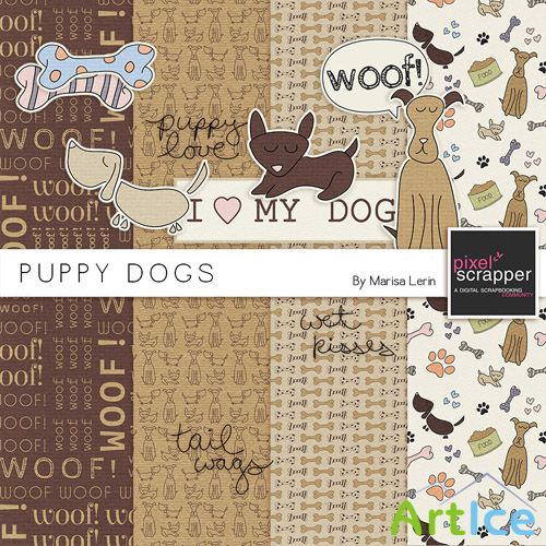 Scrap - Puppy Dogs PNG and JPG Files
