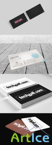 4 Business Card Mock-up Templates PSD