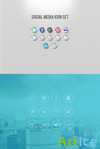 Social Media and iOS 7 Style Icons Set PSD