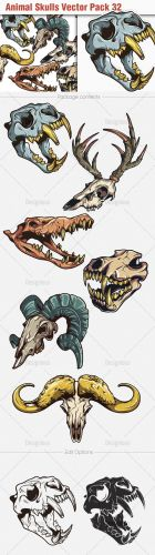 Animal Skulls Vector Illustrations Pack 32