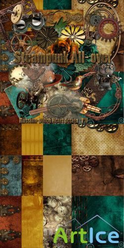 Scrap - Steampunk All- Over PNG and JPG Files