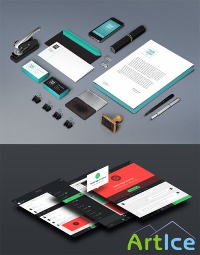 Stationery and App Screens Mock up Templates