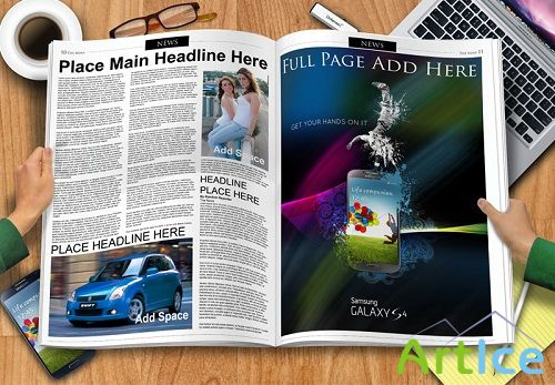 Newspaper Spread Mock-up Template