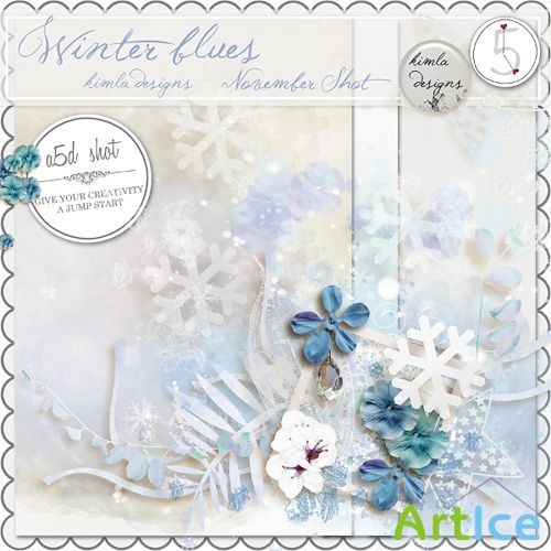 Scrap - Winter Blues Kit PNG and JPG Files