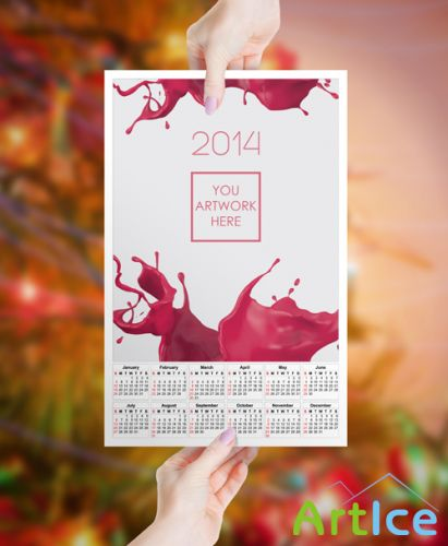 Calendar 2014 Mock up Template PSD