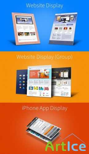 Website Iphone 3D Display Mock-up Templates