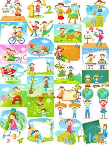 30 School Vector Illustrations Set 1