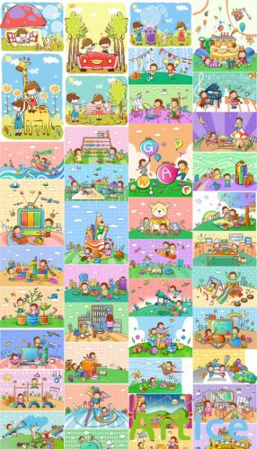 45 School Vector Illustrations Set 2