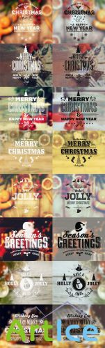 Typography Holiday Badges Vector Set