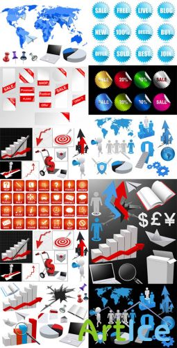 Business Elements and Icons Vector Set