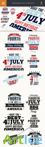 Designtnt - Independence Day Typography Set