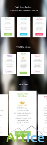 Flat Pricing Tables PSD Template